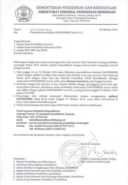Surat Pemutakhiran Aplikasi Dapodikmen 8.1.0
